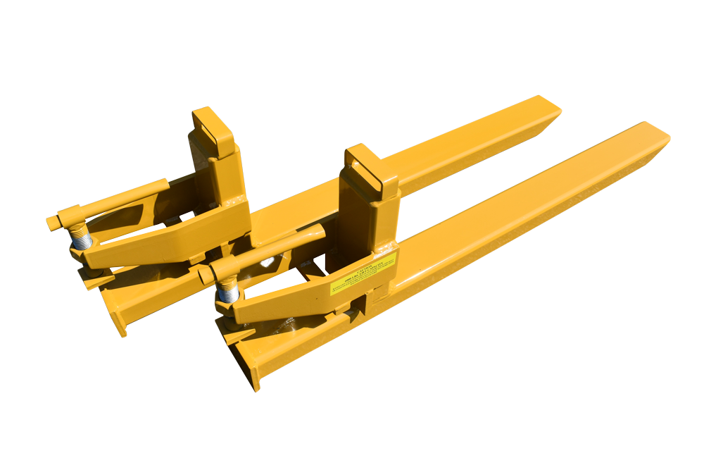 two yellow powder coated clamp on forks with visible warning label