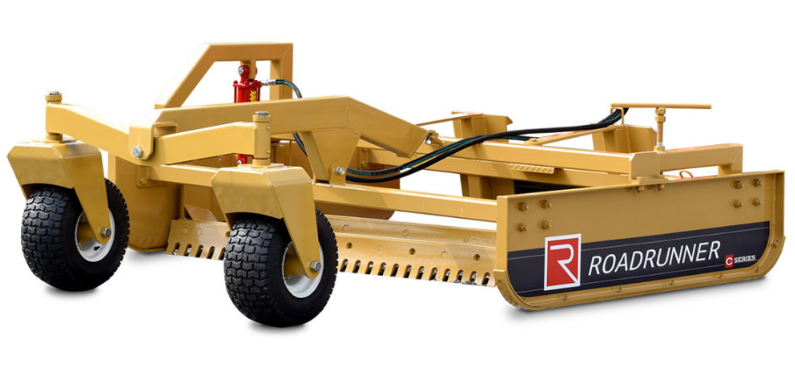 yellow skid steer grader on display with white background